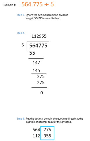 decimal division examples when dividend is a decimal number and divisor is a whole number