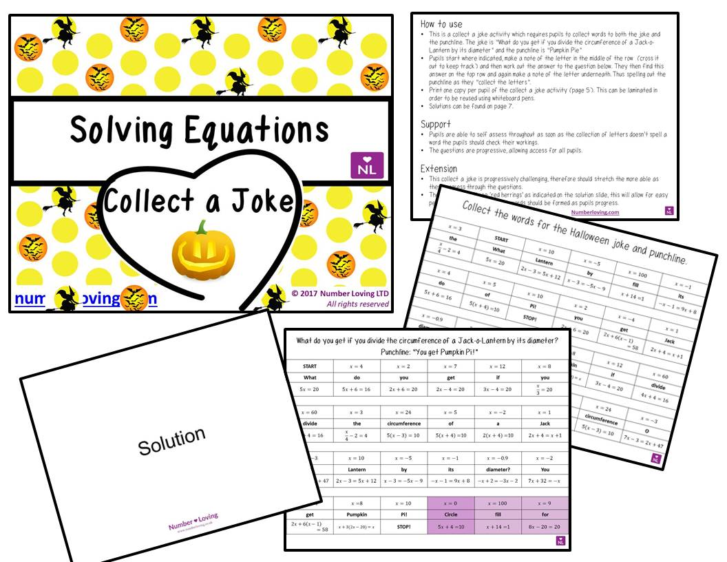 Solving Equations Collect A Joke Halloween Special