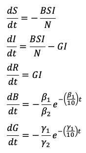 SIR model adapted differential equations