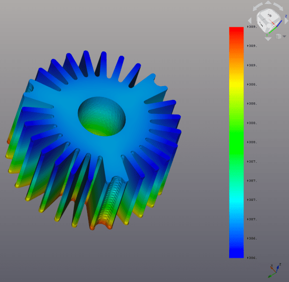 Steady-state forced convection heatsink result