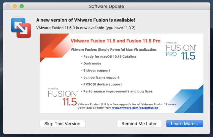VMware Fusion 11.5 release supports macOS Catalina