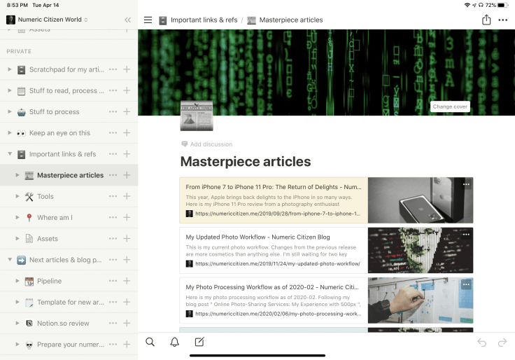 Naviating content in Notion with the sidebar