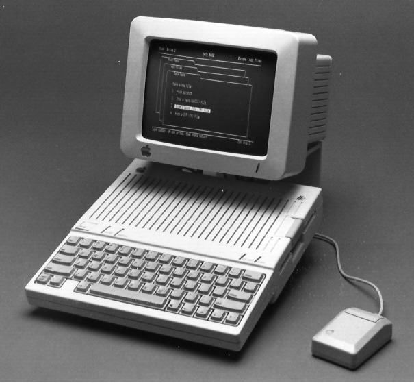 The Apple //c with monochrome monitor