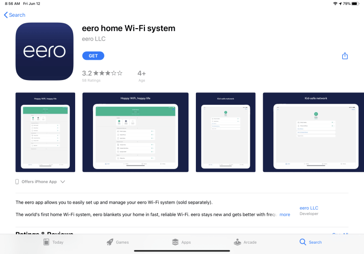 Eero home Wifi App Store page
