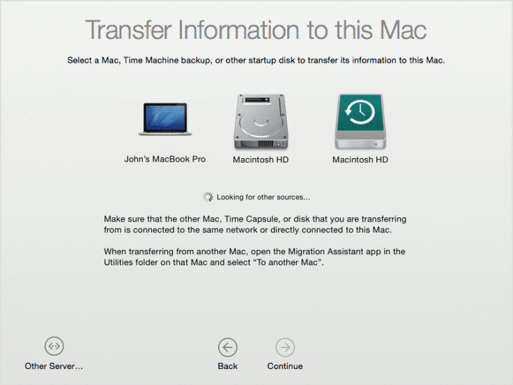 Transfer information to this Mac during Mac setup
