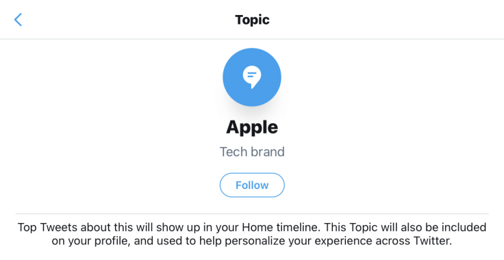 Twitter topic about Apple