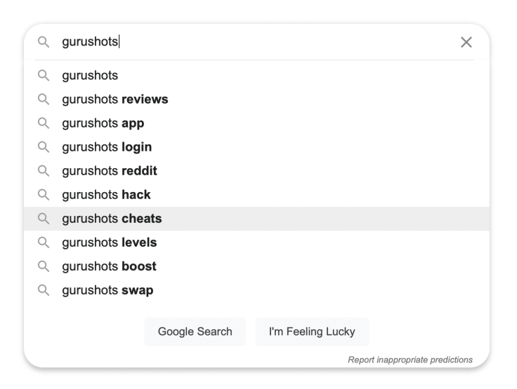 What people are looking for about GuruShots using Google Search