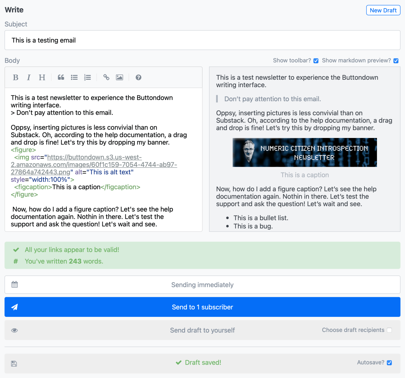 Buttondow editor with preview pane