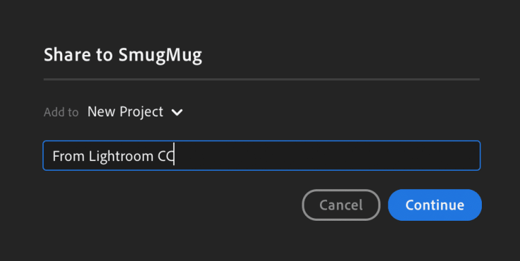 Uploading photos to a Smugmug gallery from within Adobe Lightroom CC