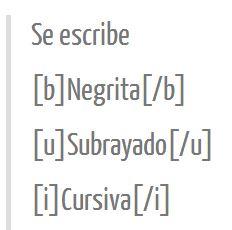 Negrita, subrayado y cursiva en tu FOTOLOG.COM