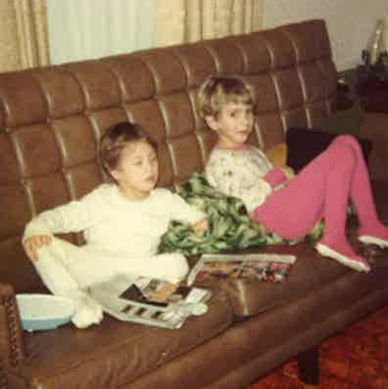 Horny teen stroking in sofa