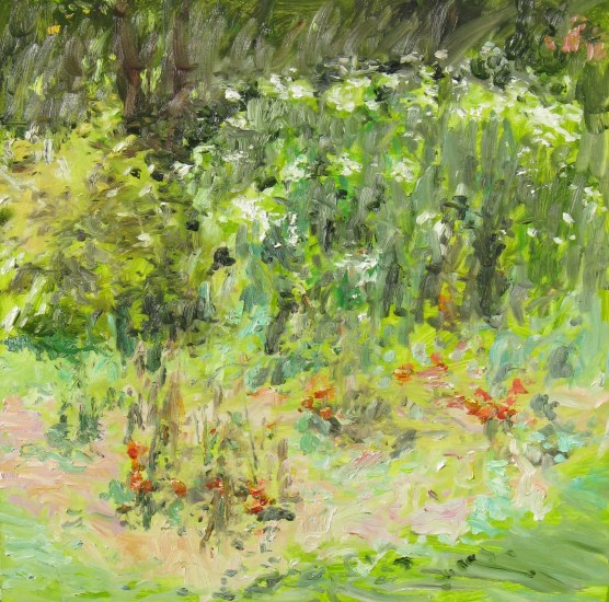 Vegetable Garden and Phlox, 2010, oil on board, 26 x 26 in., private collection