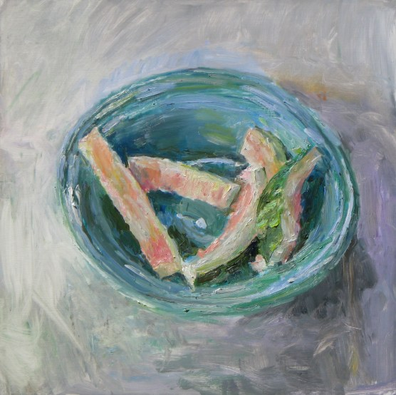 Watermelon Rinds in a Bowl, 2012, oil on board, 19.75 x 20 in., collection of the artist