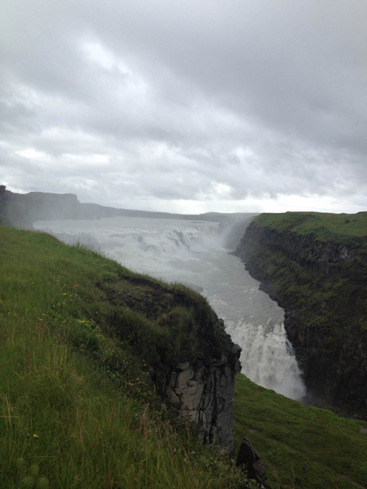 The gorgeous Gullfoss (gold fall), so powerful it sprayed much water up onto its visitors.