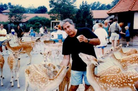 Jimmy among the deer at Catskill Game Park.