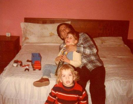 With Alex and David. Sharon took this picture; two years later she'd be dead.
