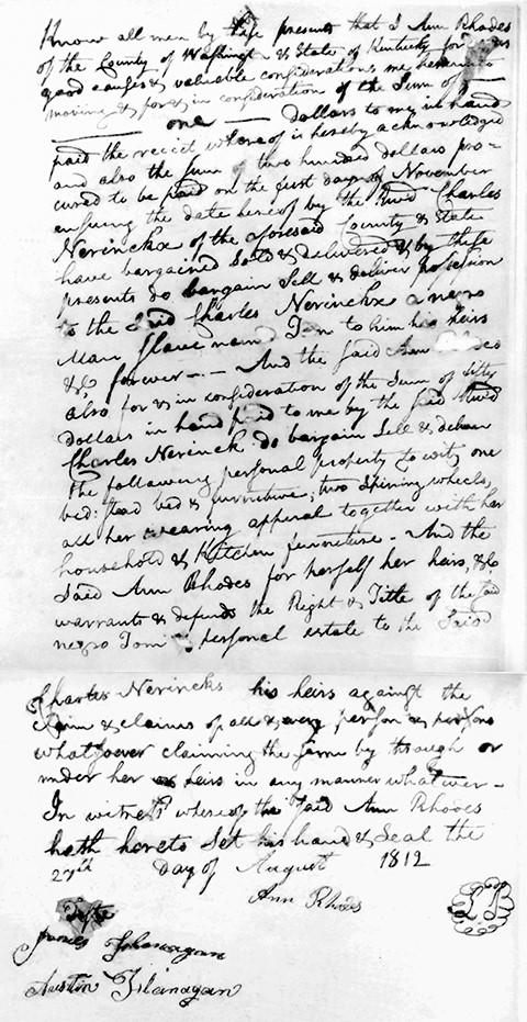 Bill of sale of slave