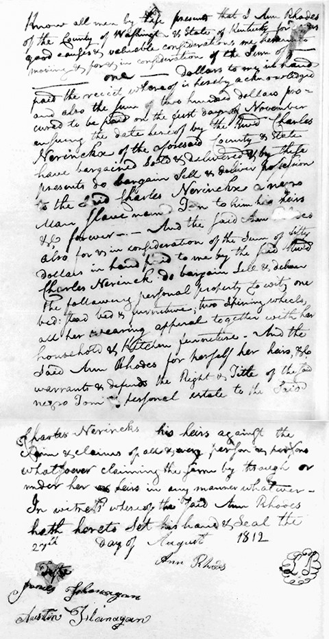 Bill of sale of slave