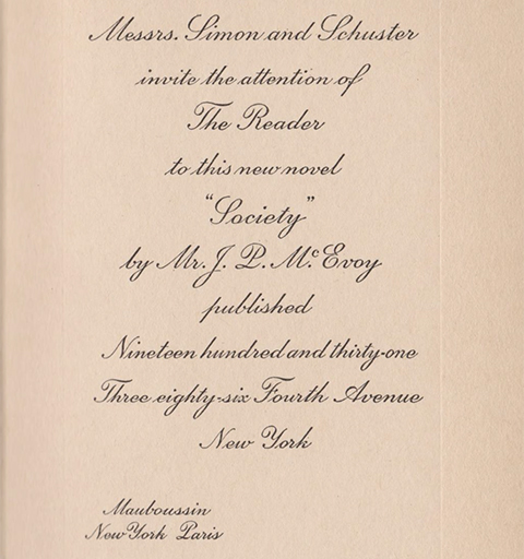 Title page of Society