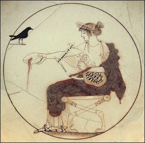 Apollo pouring a libation to a blackbird
