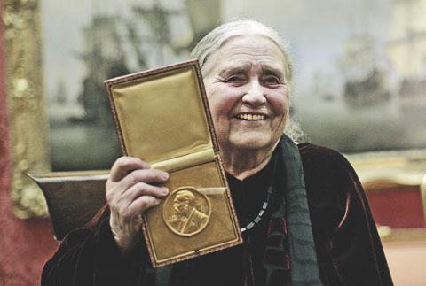 Doris Lessing with 2007 Nobel Prize in Literature