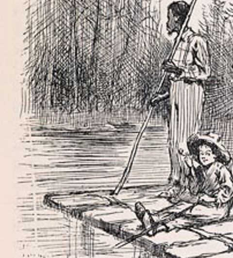Jim and Huck on the raft