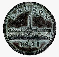 Jeton de passage sur le Lauzon, 1821