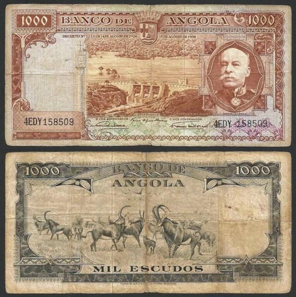 ANGOLA (27) - 1.000 ESCUDOS 'Brito Capelo' (1956) CIRC… Rara