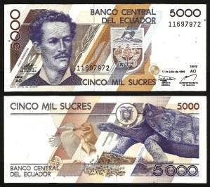 EQUADOR .n128 (ECUADOR) - 5.000 Sucres (1999) NOVA