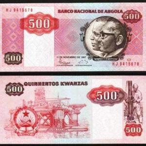 ANGOLA .n120b - 500 KWANZAS 'Agostinho Neto / José Eduardo Santos' (1987) QNOVA ... Esc