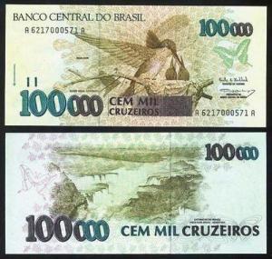 BRASIL .n235 (BRAZIL) - 100.000 CRUZEIROS (1993) NOVA