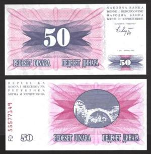 BÓSNIA-HERZEGOVINA .n012 - 50 DINARES (1992) NOVA +++++ VENDIDA +++++