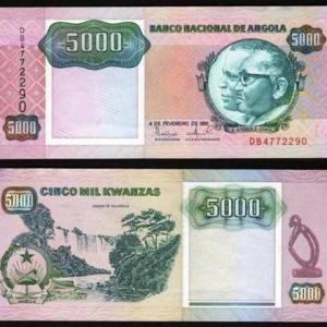 ANGOLA .n130a - 5.000 KWANZAS 'Agostinho Neto / José E. Santos' (1991) Q/NOVA ... Esc