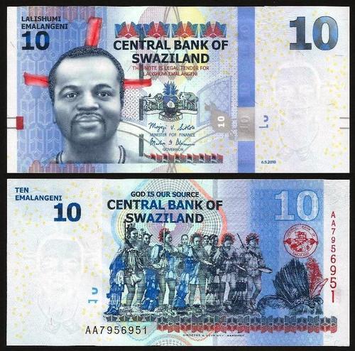 SUAZILÂNDIA .n36 (SWAZILAND) - 10 EMALANGENI (2010) NOVA