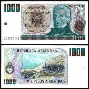 ARGENTINA .n303y - 1.000 PESOS (1983/5) NOVA +++++ VENDIDA +++++