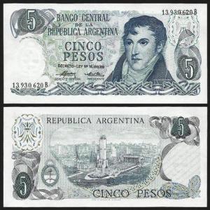 ARGENTINA .n294 - 5 PESOS (1974/6) NOVA +++++ VENDIDA +++++