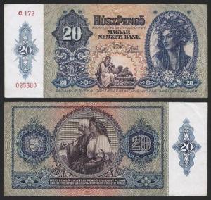HUNGRIA .n096y (HUNGARY) - 20 PENGO (1941) CIRC. +++++ VENDIDA +++++