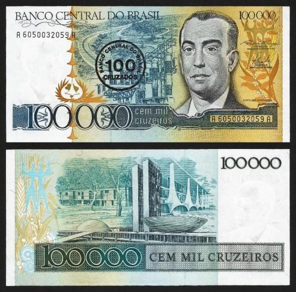 BRASIL .n208 (BRAZIL) - 100 CRUZADOS S/ 100.000 CRUZEIROS (1986) NOVA