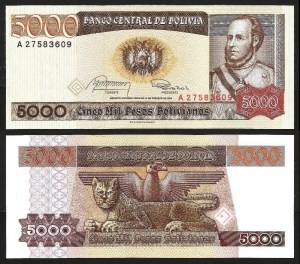 BOLÍVIA .n168 - 5.000 PESOS B. (1984) NOVA
