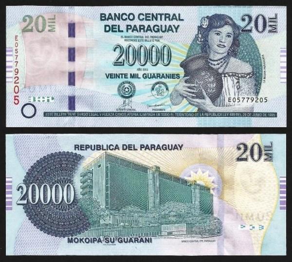 PARAGUAI .n235 (PARAGUAY) - 20.000 GUARANIES (2013) NOVA ... Dif.