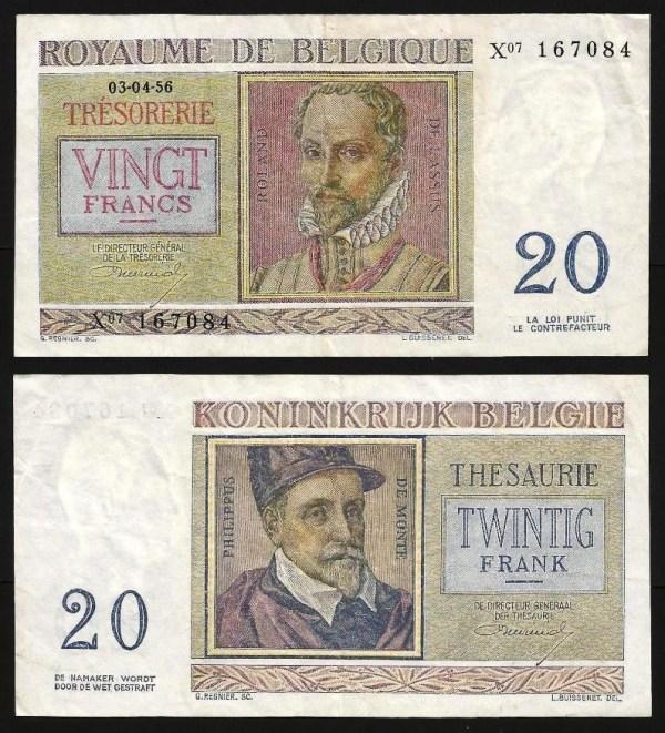 BÉLGICA .n132 (BELGIUM) - 20 FRANCOS (03.04.1956) CIRC...Esc.
