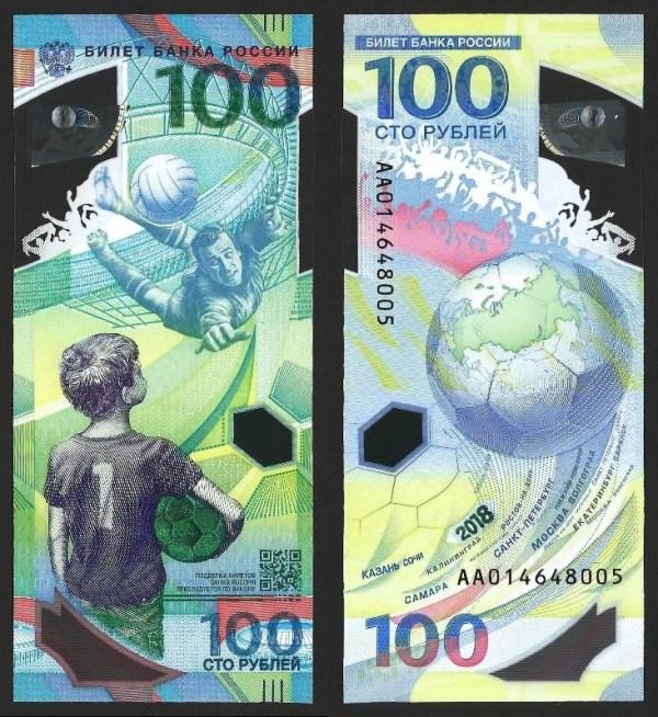 RÚSSIA .n280 / FEDERAÇÃO (RUSSIAN FEDERATION) - 100 RUBLOS CMM 'Camp. Mundo de Futebol' (2018) NOVA 1