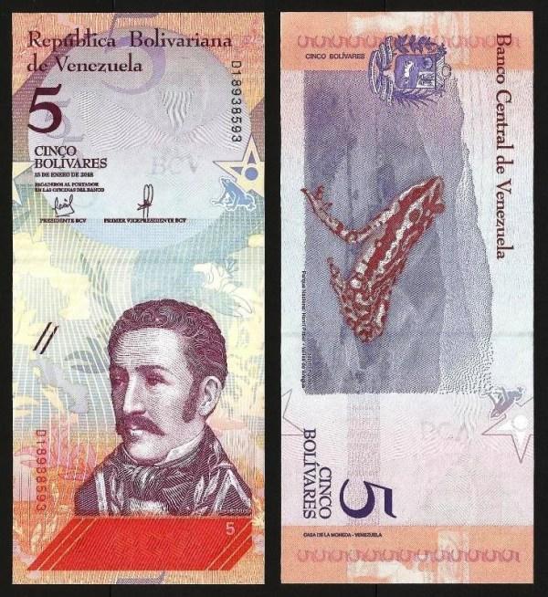 VENEZUELA .102a - 5 BOLÍVARES 'Soberanos' (15.01.2018) NOVA