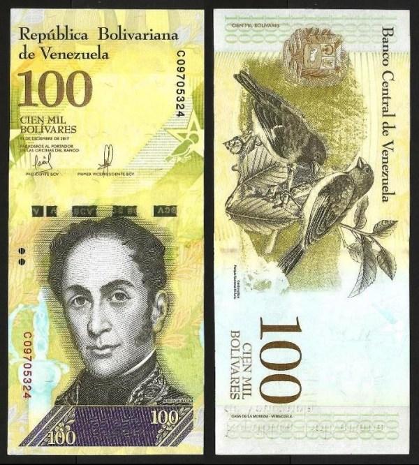 VENEZUELA .n100c - 100.000 BOLÍVARES (13.12.2017) NOVA