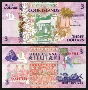 ILHAS COOK .n03 (COOK ISLANDS) - 3 DOLLARS (1987) NOVA +++++ VENDIDA +++++
