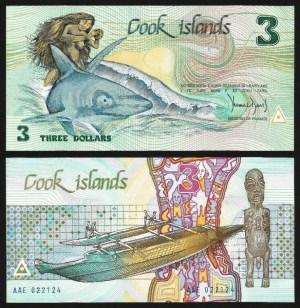 ILHAS COOK .n07 (COOK ISLANDS) - 3 DOLLARS 'AITUTAKI' (1992) NOVA +++++ VENDIDA +++++