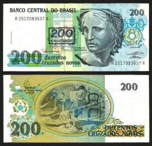 BRASIL .n225 (BRAZIL) - 200 CRUZEIROS S/ 200 CRUZADOS NOVOS (1990) NOVA