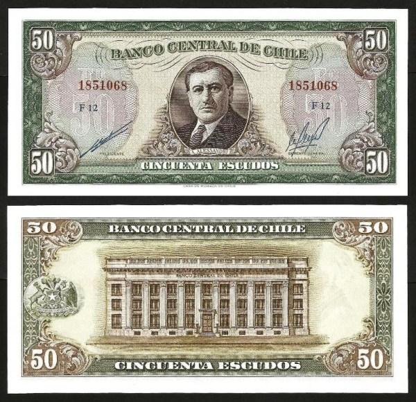 CHILE .n140b - 50 ESCUDOS (1962/75) NOVA 1
