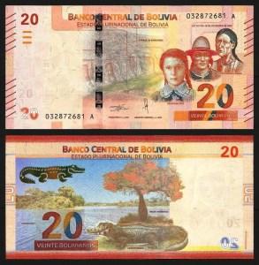 BOLÍVIA .n249 - 20 BOLIVIANOS (Lei 1986 / 2018) NOVA