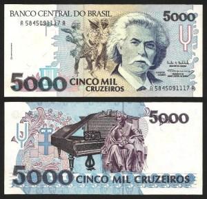 BRASIL .n232c (BRAZIL) - 5.000 CRUZEIROS (1993) NOVA